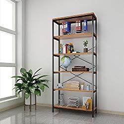 Kemanner 5-Tier Industrial Style Bookcase, Vintage Free Standing Bookshelf, Rustic Wood Bookcases Furniture (Brown-1)