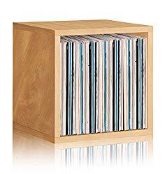 Way Basics Extra Large Stackable LP Album Shelf Vinyl Record Storage Cube, Natural