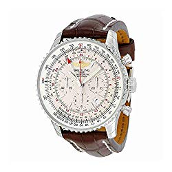 Breitling Navitimer GMT Automatic Silver Dial Brown Leather Mens Watch AB044121-G783BRCT