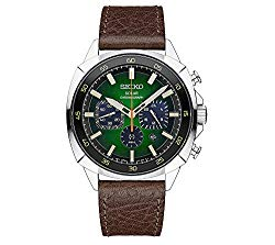 Seiko Men's Recraft Solar Chronograph with Brown Leather Strap and Green Dial