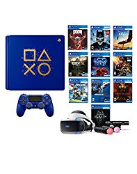 PlayStation 4 Days of Play PSVR Deluxe Bundle (12 Items): PlayStation 4 Days of Play 1 TB Limited Edition Console, PSVR Starter Bundle, DOOM VFR, Skyrim VR, Battlezone, and other 7 PSVR Games