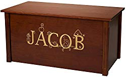 Wood Toy Box, Large Cherry Toy Chest, Personalized Thematic Font, Custom Options (Standard Base – Gold Lettering)