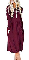 AUSELILY Womens Long Sleeve Pleated Loose Swing Casual Dress with Pockets Knee Length (L,Wine Red)