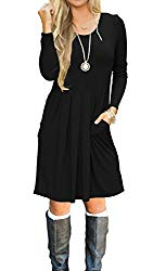 AUSELILY Women's Long Sleeve Pleated Loose Swing Casual Dress with Pockets Knee Length (S, Black)
