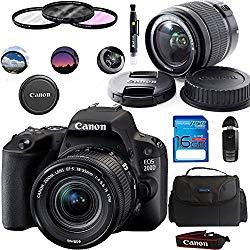 Canon EOS 200D/Rebel SL2 Kit with EF-S 18-55mm f/4-5.6 IS STM Lens Digital SLR Cameras (Black) – Deal-Expo Essential Accessories Bundle