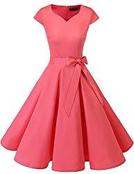 DRESSTELLS Retro 1950s Solid Color Cocktail Dresses Vintage Swing Dress with Cap-Sleeves Pink L
