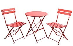 Finnhomy 3 Piece Outdoor Patio Furniture Sets, Outdoor Bistro Sets, Steel Folding Table and Chair Set, w/Safe Lock for Indoors and Outdoors Bistro Table Chair Sets,Backyard/Bistro/Patio/Lawn, Red