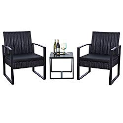 Flamaker 3 Pieces Patio Furniture Set Bistro Table Set Modern Outdoor Furniture Sets Cushioned PE Wicker Bistro Set Rattan Chair Conversation Sets with Coffee Table (Black)