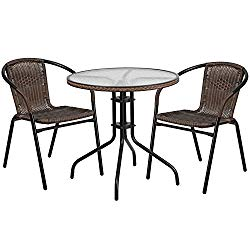 """Flash Furniture 28"""" Round Glass Metal Table with Dark Brown Rattan Edging and 2 Dark Brown Rattan Stack Chairs"""