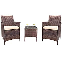 Homall Patio Furniture Dining Set Patio Table and Chairs Set Outdoor Furniture Cushioned Tempered Glass (PE Rattan, Brown/3)