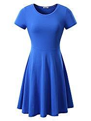 HUHOT Women Short Sleeve Round Neck Summer Casual Flared Midi Dress Medium Blue
