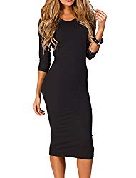 ICONOFLASH Women's 3/4 Sleeves Bodycon Midi Dress (Black, Medium)