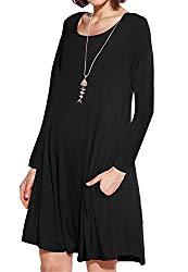 JollieLovin Women's Pockets Long Sleeve Casual Swing Loose Dress (Black, 3X)