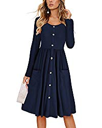 KILIG Women's Dresses Long Sleeve Casual Button Down Swing Midi Dress with Pockets(Navy, M)