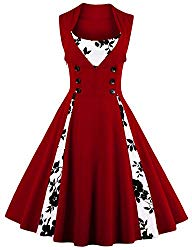 Killreal Women's Vintage Floral Print Sleeveless Casual Rockabilly Cocktail Dress Wine Red/White Mudium