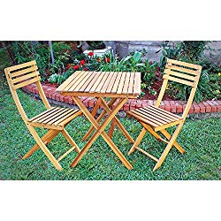 Kotulas 3-Pc. Folding Outdoor Acacia Hardwood Bistro Set — Table and 2 Chairs