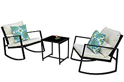 Kozyard Moana Outdoor 3-Piece Rocking Wicker Bistro Set, Two Chairs and One Glass Coffee Table, Black Wicker Furniture(White Cushion+Blue Pattern Pillow)