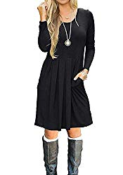 LILBETTER Women's Long Sleeve Pleated Loose Swing Casual Dress with Pockets Knee Length Black-L