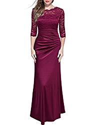 Miusol Women's Retro Floral Lace Vintage 2/3 Sleeve Slim Ruched Wedding Maxi Dress, Wine Red XL