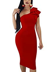 Mokoru Women's Sexy Ruffle One Shoulder Sleeveless Bodycon Party Club Midi Dress, X-Large, Red