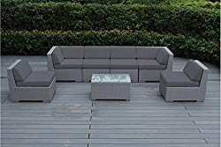 Ohana 7-Piece Outdoor Patio Furniture Sectional Conversation Set, Gray Wicker with Gray Cushions – No Assembly with Free Patio Cover