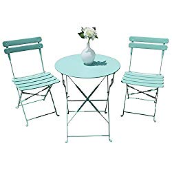 Orange Casual Outdoor 3 Pieces Patio Bistro Set Folding Steel Furniture Balcony Table and Chairs Sets, Blue