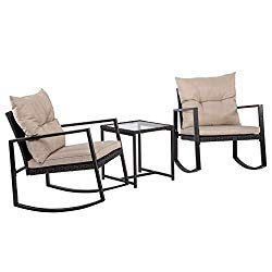 Outdoor 3 Piece Bistro Set Wicker Rocking Chair Rattan Conversation Sets Patio Furniture For Backyard Porch Poolside Lawn