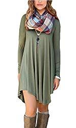 POSESHE Women's Long Sleeve Casual Loose T-Shirt Dress (XL, A Army Gren)