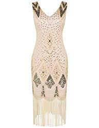 PrettyGuide Women 1920s 1920s Gatsby Cocktail Sequin Art Deco Flapper Dress XL Gold Beige