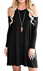 QIXING Women's Long Sleeve Cold Shoulder Casual Loose T-Shirt Dress Black-L