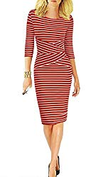 REPHYLLIS Women 3/4 Sleeve Striped Wear to Work Business Cocktail Party Summer Pencil Dress Red S
