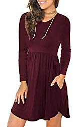 Unbranded* Women's Long Sleeve Loose Plain Dresses Casual Short Dress with Pockets Wine Red Small