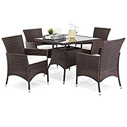 Best Choice Products 5-Piece Indoor Outdoor Wicker Patio Dining Set Furniture w/Square Glass Top Table, Umbrella Cut Out, 4 Chairs – Brown