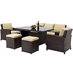 Best Choice Products Complete Outdoor Living Patio Furniture 6-Piece Wicker Dining Sofa Set (Brown)
