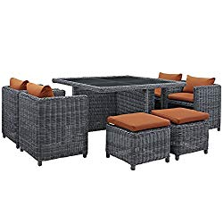 Modway Summon 9 Piece Outdoor Patio Dining Set With Sunbrella Brand Tuscan Orange Canvas Cushions