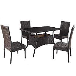 TANGKULA Patio Furniture 5 PCS Outdoor Balcony Wicker Rattan Dining Set