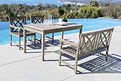 Vifah Renaissance 4 Piece Hardwood Cross Pattern Slat Back Dining Set with Classic Rectangle Table, 4′ Bench and 2 Arm Chairs