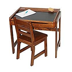Lipper International Kids Desk with Chalkboard Top & Chair Set in Walnut, Kids Activity Table Set