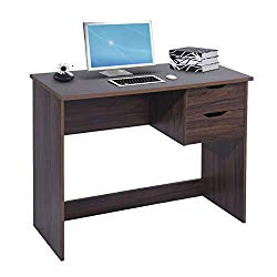 Writing Computer Desk Study Table with 2 Side Drawers Classic Home Office Laptop Desk Walnut Brown Wood Notebook Table (35.4×17.7×29.1 Inches)