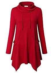 Bulotus Womens Tunics Red, Ladies Drawstring Turtleneck Irregular Hem Long Sleeve Pullover Shirt Tunic Top,Red,Large