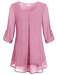 Cestyle Pink Blouses for Women,Juniors Elegant Scoop Neck Rolled Up Long Sleeve Lightweight Button Décor Chiffon Shirts Office Flowy Tunic Tops XX-Large