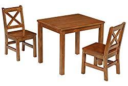 eHemco Kids Table and 2 X Back Chairs Set Solid Hard Wood (Dark Oak)