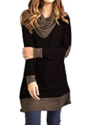 Famulily Women's Cowl Neck Tops Two Tone Color Block Pullovers Elbow Patchs Loose Long Tunic Blouse (Large, Black)