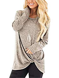 Famulily Women's Long Sleeve Cotton Tunic Blouse Side Twist Knotted Soft Comfy Tops Khaki M