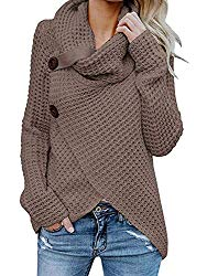 Inorin Womens Turtleneck Sweater Warm Cable Knitted Loose Button Wrap Asymmetrical Pullover Tops
