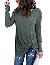 Lookbook Store Women's Casual Soft Long Sleeves Loose Fit Knot Side Twist Knit Blouse Top Shirts Greylish Green Size M