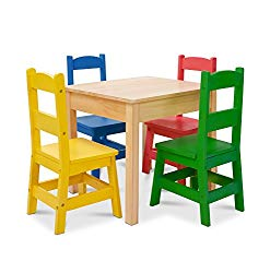 Melissa & Doug Kids Furniture Wooden Table & 4 Chairs – Primary (Natural Table, Yellow, Blue, Red, Green Chairs) (Amazon Exclusive)