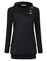 Miusey Pullover Women, Ladies Lapel Pleated Neck Buttons Long Sleeve Banded Hem Lightweight Tunic Tops Shirt Sweaters Solid Cute Pockets Oversize Baggy Baned Bottom Pullover Autumn Black XL