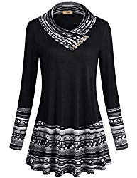 Miusey Vintage Sweatshirt,Junior Geometric Splicing Top Casual Cowl Neck Embellished with Buttons Stitching Color Long Sleeve A Line Flowy Curved Hemline Tunic Sweater Black L