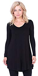 Popana Women's Tunic Tops for Leggings Long Sleeve Shirt Plus Size Made in USA 2X Black